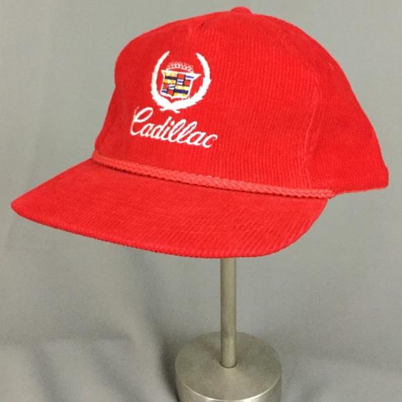 Vintage red corduroy Cadillac captains hat